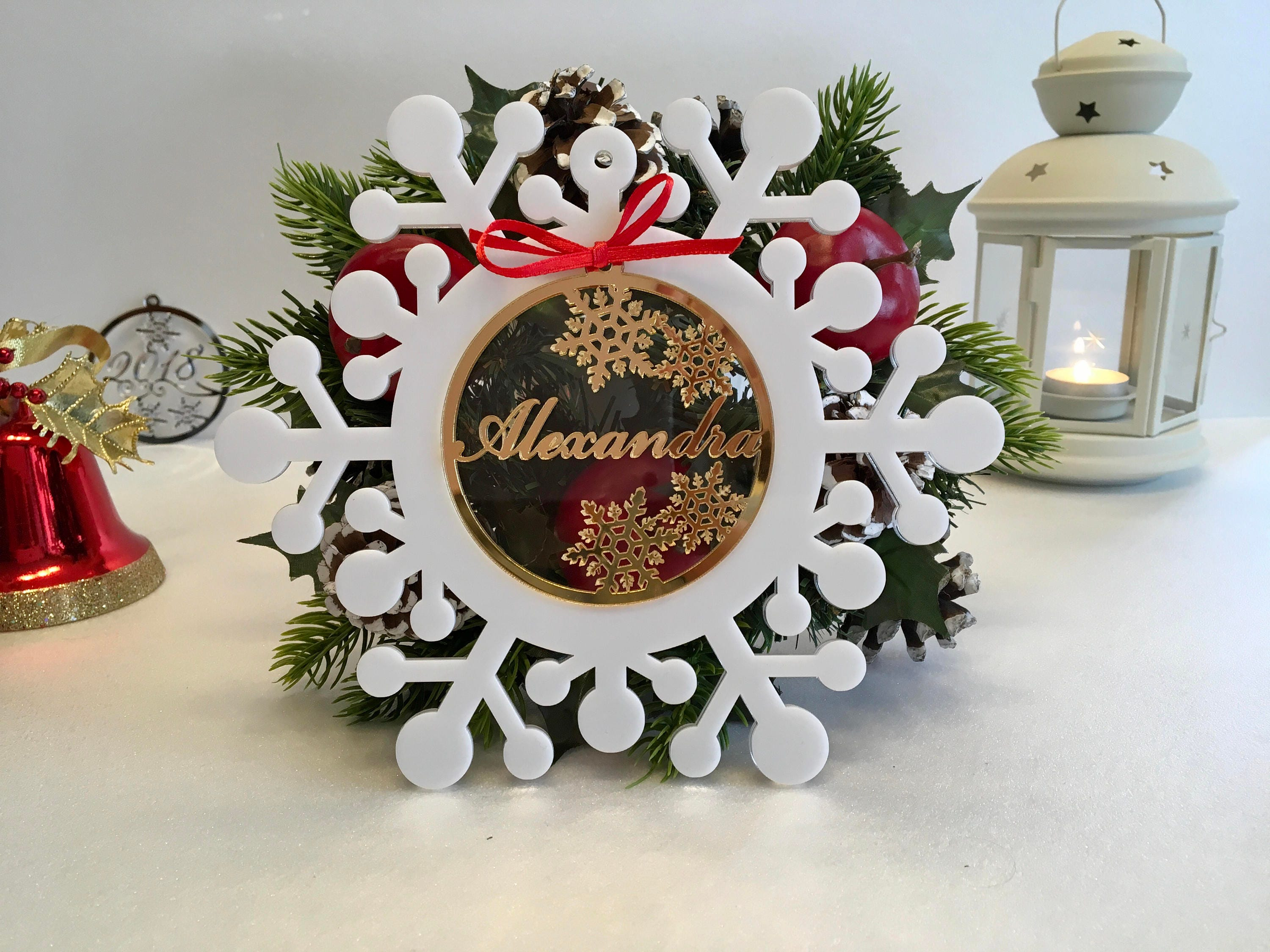 Personalised Christmas Name Bauble Xmas gifts under 15 Snowflake ...