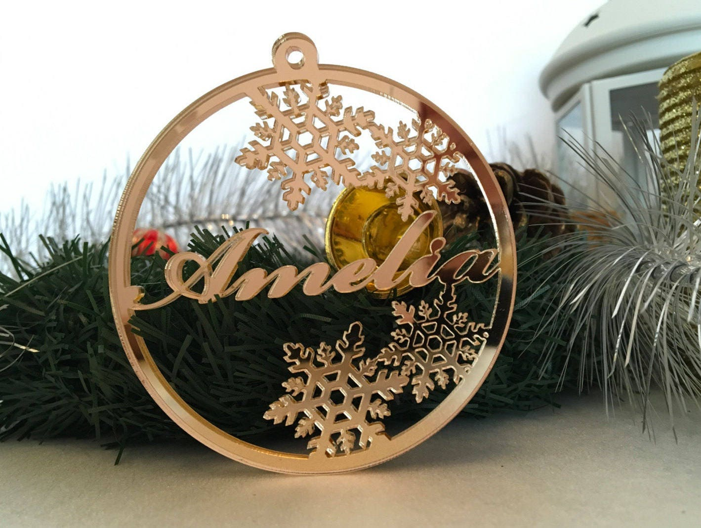 Personalised Christmas Bauble Snowflake Ornaments Memorial