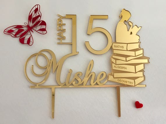 Custom Happy Birthday Cake Topper Personalized Name Age Gold Acrylic Party Cake Toppers Math Theme Girl Reading Book Silhouette Gift for her