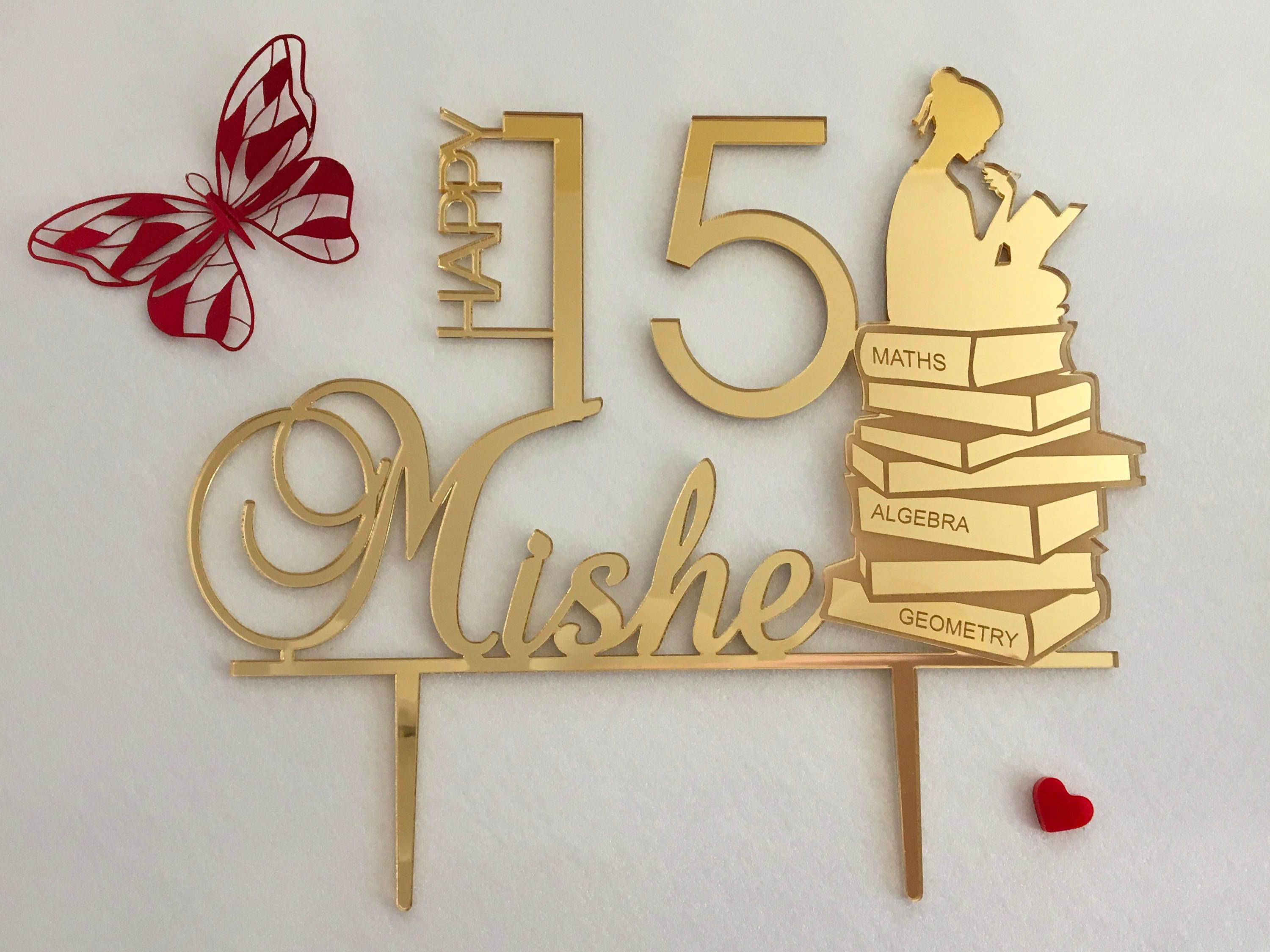 Custom Happy Birthday Cake Topper Personalized Name Age Gold Acrylic Party Toppers Math Theme Girl Reading Book Silhouette Gift For Her