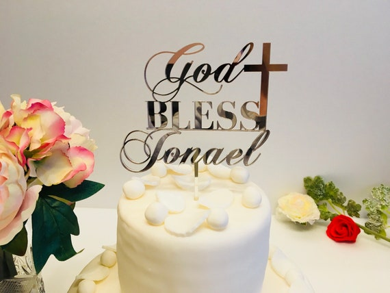 God Bless Cake Topper with Cross Any Name Centerpieces Custom Baptism Personalized Christening First Holy Communion Religious Party Decor