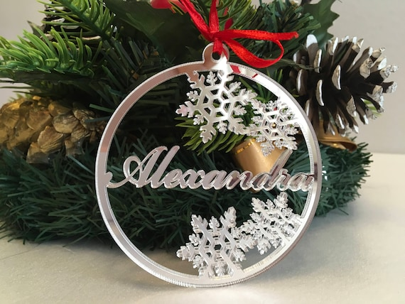 Christmas Tree Decorations Names.Christmas Ornaments Personalised Christmas Name Baubles Silver Handmade Xmas Decorations Custom Snowflakes Name Tree Decorations Xmas Gifts