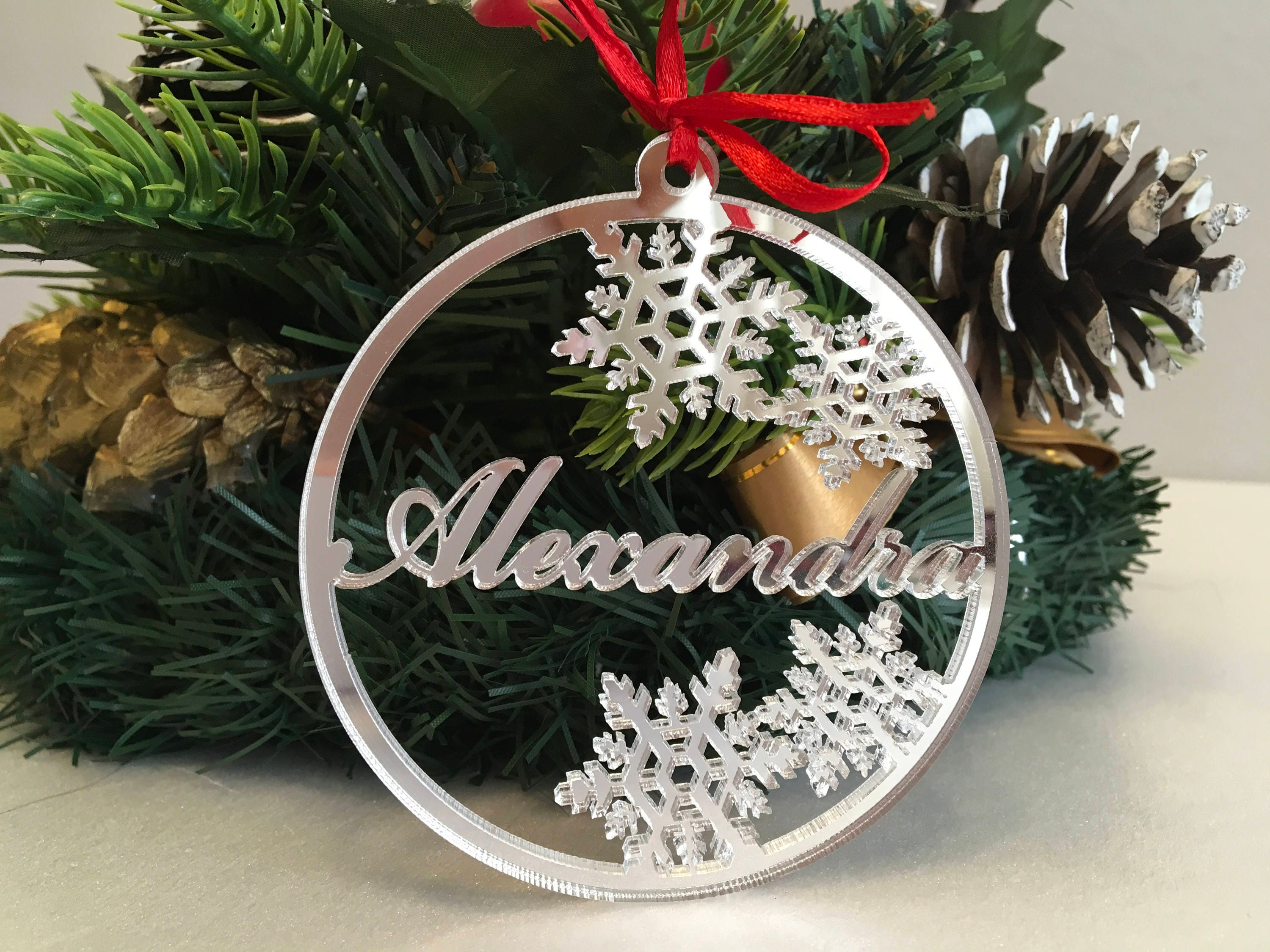 christmas ornaments personalised christmas name baubles silver handmade xmas decorations custom snowflakes name tree decorations xmas gifts - Christmas Tree Decorations Names