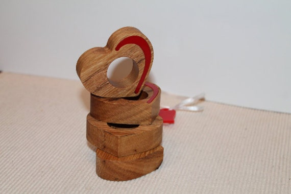 Wooden napkin rings Rustic hearts holders Valentines decoration Wedding Party Decor Wood Shapes Rustic napkin rings Housewares kitchen decor