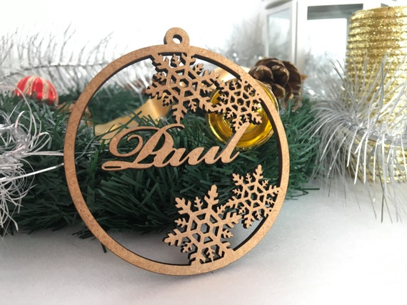 Set of Personalised Christmas Name Tree Ornaments Wooden Xmas Gifts Hanging Bauble Custom Home Decorations Laser Cut Tags Wood Snowflakes