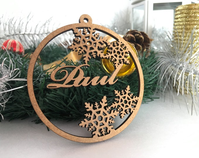 Personalized Name Bauble Wood Custom Ornament Christmas Gift Tags Xmas Tree Decorations Laser Cur Wooden Snowflakes Handmade First Christmas