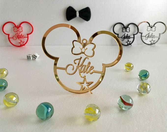Personalized Mickey Mouse Ornament Disney Party Favor First Birthday Gift Minnie Mouse Ears Decorations Personalised Baubles Keep Memories