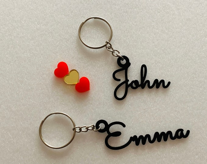 Personalized Name Keychain Customized Keyrings Laser Cut Metal Name / Word Handmade Gift for Her Key Chain for Him Custom Bag Charm Name Tag