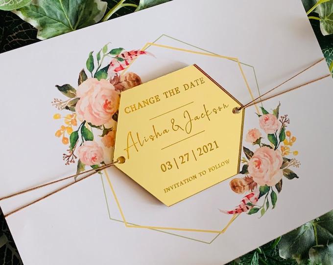 Change the Date & Wedding Acrylic Invitation, Personalized Names Wood Hexagon Shapes Modern Custom Invites Reception, Invitation to Follow