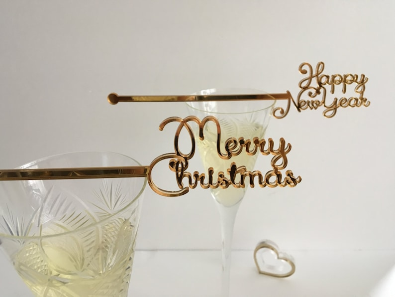 Christmas Swizzle Sticks Drink Stirrers Happy New Year Tag image 0