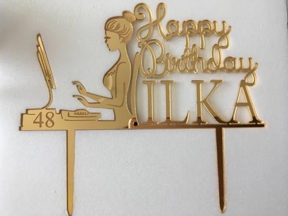 Happy Birthday Mom Cake Toppers Personalized Name Age Business gift  48th Gold Custom 50th Forty Computer Laptop 60th Woman Silhouette 40th