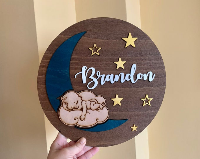 Personalized Nursery Sign Custom Baby Name Wood Sign Round Wall Art Hanging Baby Shower Gift Kids Room Moon & Stars Sleeping Baby Above Crib
