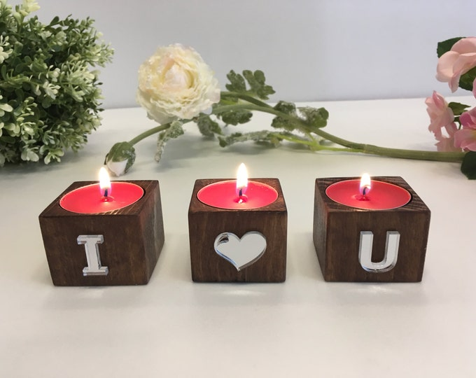 Personalized initials wood candle holders Wedding gift set of 3 tea light holders Valentine day gift I love you sign Monogrammed any letters