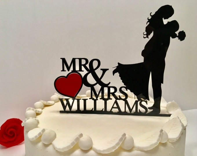 Personalized Wedding Cake Topper Bride and Groom Silhouette Mr and Mrs Red Heart Acrylic Cake Topper with Last Name Custom Cake Decorations