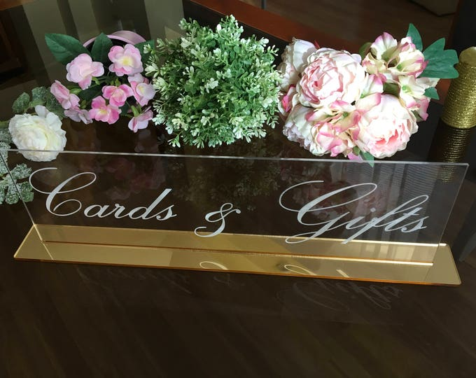 Cards and Gifts Clear Acrylic Table Sign Wedding Engraved Freestanding Reception Decor Gift and Cards Calligraphy Custom Sign Birthday Sign