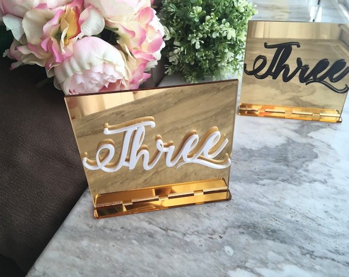 Mirrored Acrylic Wedding 3D Table Number Stands Calligraphy Script Wedding Signs Modern Centerpieces Luxury Event Decorations Number Holders