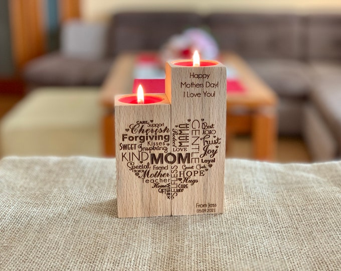 Custom Mother's Day Gift Personalized Wooden Candle Holders Mom's Gift Save the Date Name Engraved Love Word Heart Wood Inspirational Words