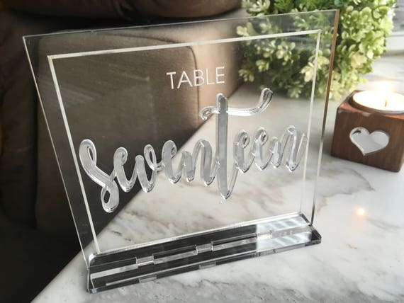 Silver Mirror Wedding Table Number Holders Laser Cut Clear Acrylic Table Numbers Wedding Signs 3D Letters Cursive Base Silver Acrylic Sign