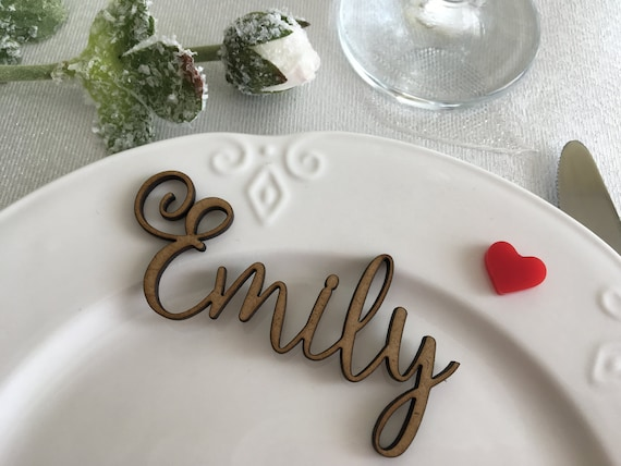wooden laser cut names wedding table place custom name place etsy