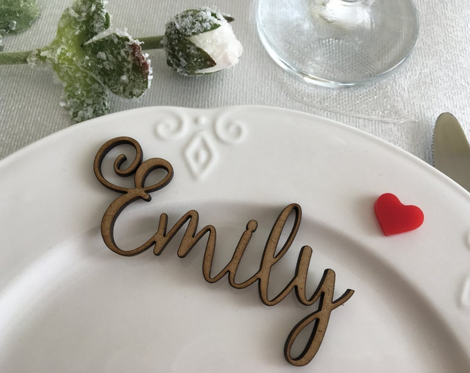 Personalized wooden laser cut names Custom wedding table place names Custom names Place setting Wooden escort cards Guest names Wooden signs