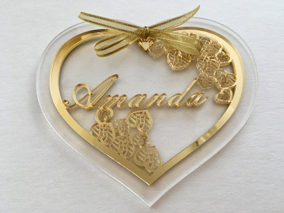 Gold mirror heart Bridesmaid Gift for her Personalised Valentines gift Heart name ornament Laser cut hearts Custom heart shape Romantic gift