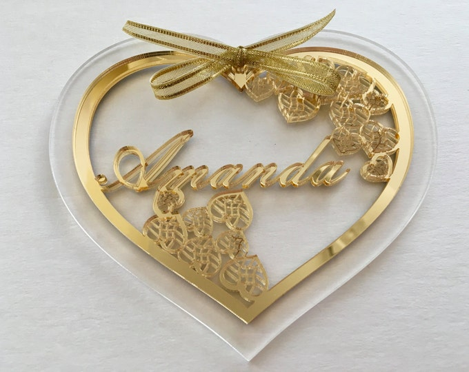 Personalized heart with custom name Gift for her Valentines gift Name ornament Laser cut heart Heart shapes Romantic gift for girlfriend