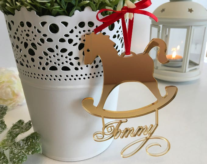 Custom Rocking Horse Christmas gift for kids Personalized horse ornament Baby's First Christmas Wooden horse ornament Christmas decorations