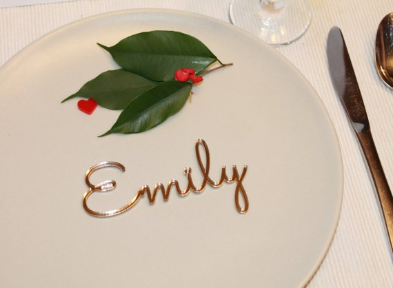 Wedding place cards Name place settings Laser cut names Wedding table place Guest names Gold wedding signs Wedding centerpiece Wooden names