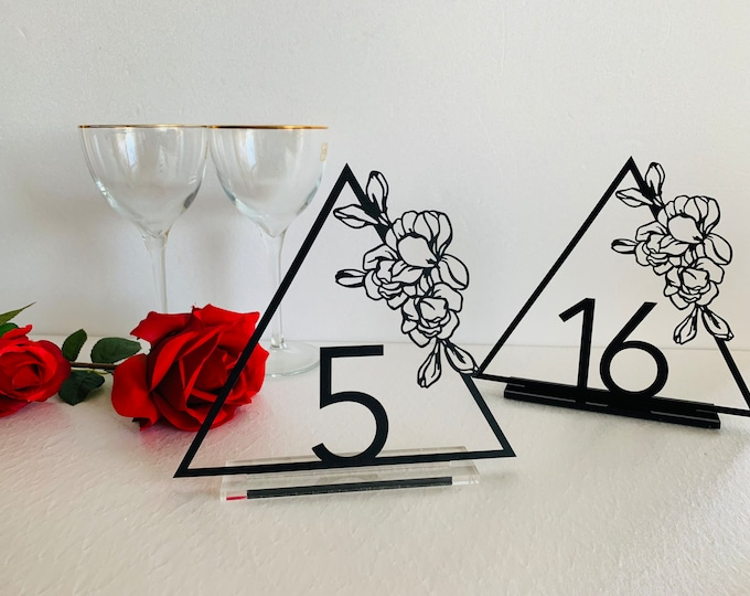 Wedding Metal Table Numbers Laser Cut Flowers Triangle Table Centerpieces Reception Decor Wedding Sign Geometric Numbers Base Number Holder