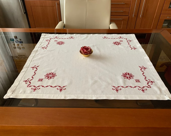 Vintage Handmade Rectangle Runner Ethnic Doily Crochet Red White Embroidery Traditional Bulgarian Folk Art Linen Table Topper Cover Gift Mom