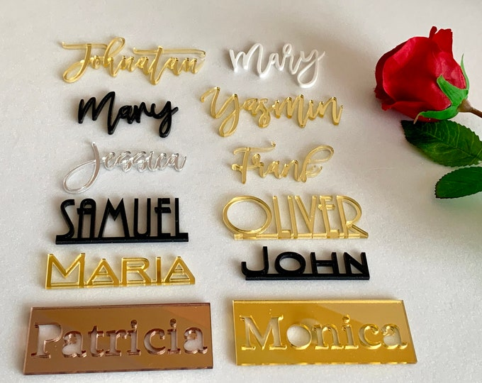 Personalized Wedding Acrylic Wooden Laser Cut Names Custom Place Cards Name Setting Guest Name Tags Escort Cards Calligraphy Modern New Font