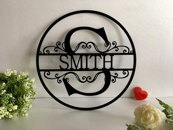 Personalized Last Name Family Sign Initial Split Letter Outdoor Custom House Monogram Hanging Front Door Wreath Wedding Gift Hanger Garden