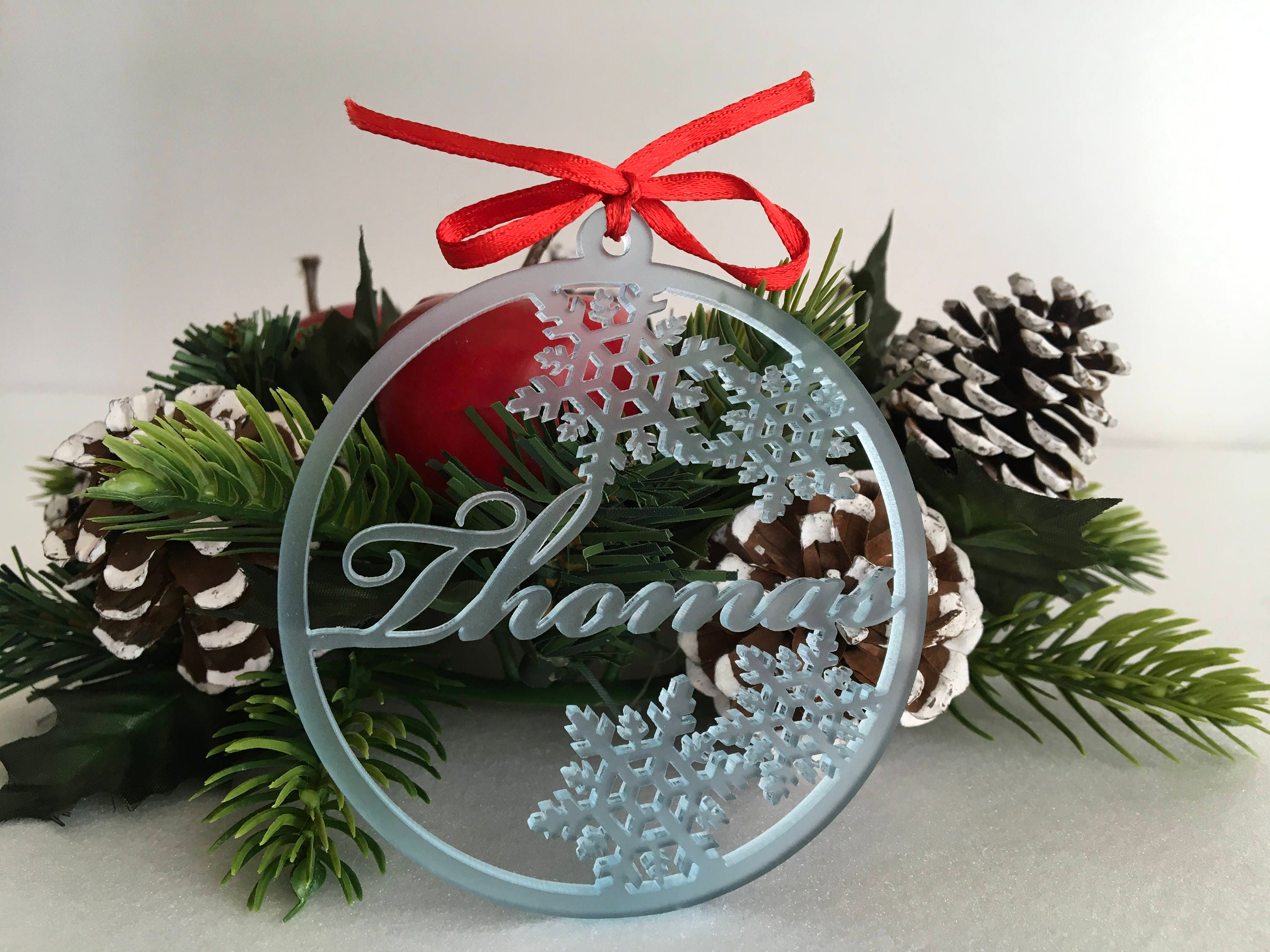 personalised christmas baubles frosted acrylic names baby blue gift tags custom ornaments personalized name tree decorations christmas gift - Christmas Tree Decorations Names