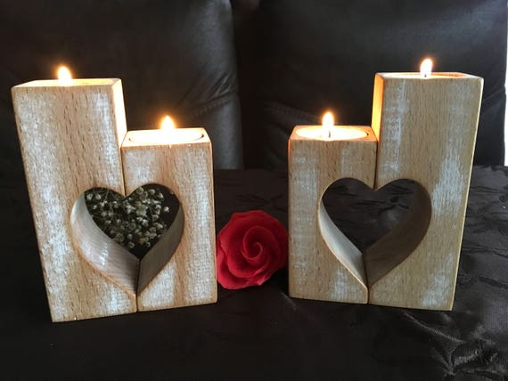 Wooden Candle Holders Set of 2 Wood candlestick holders Rustic Hearts Mothers day gift Wedding gift Home decorations Tealight candle holder