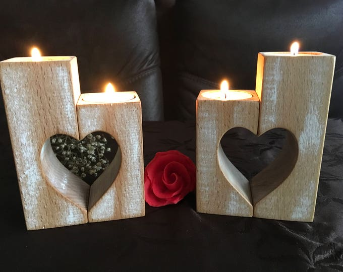 Wooden Candle Holders Set of 2 Wood candlestick holders Rustic Hearts Valentine's gift Wedding gift Home decorations Tealight candle holder