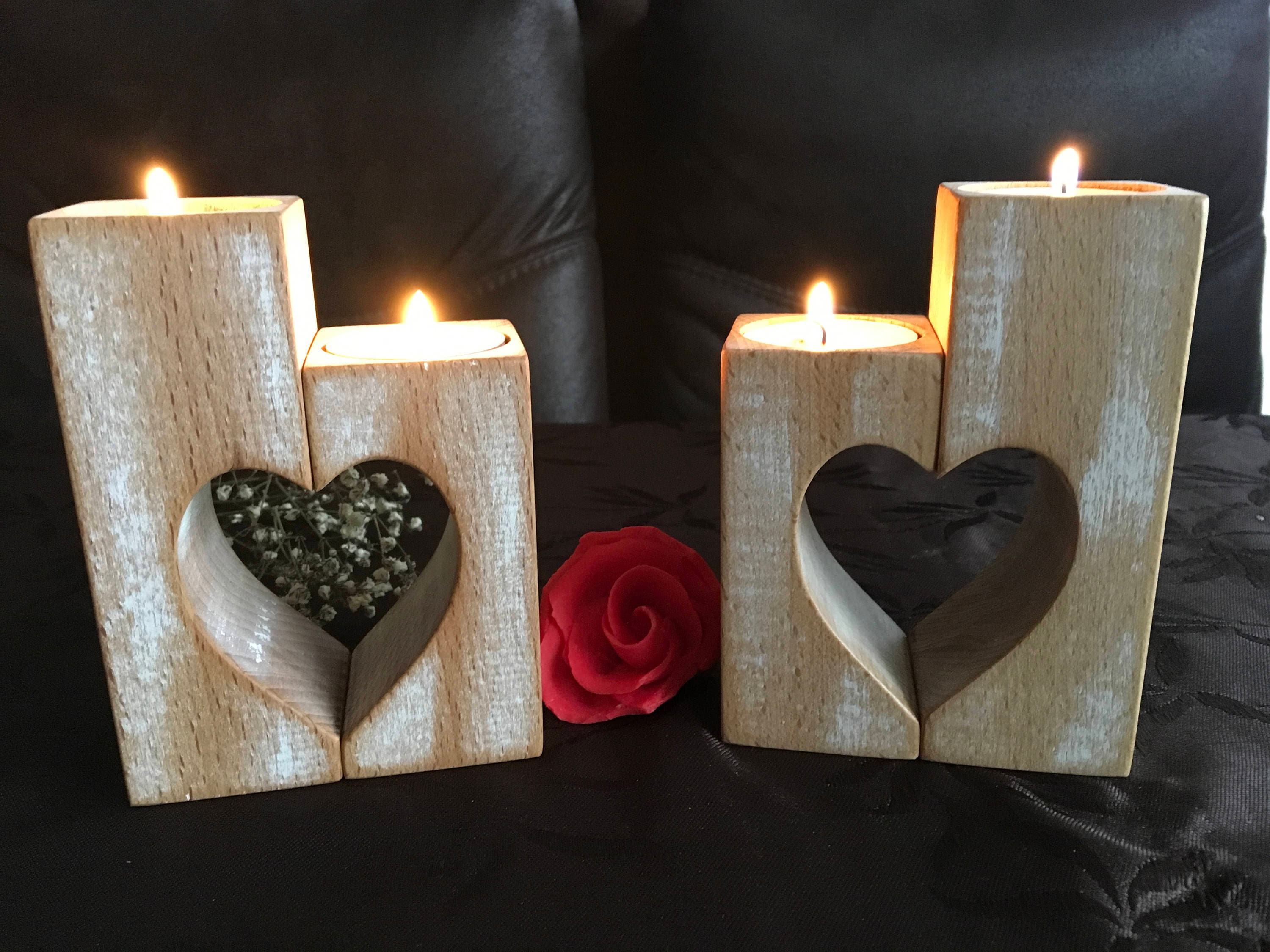 Wooden Candle Holders Set of 2 Wood candlestick holders