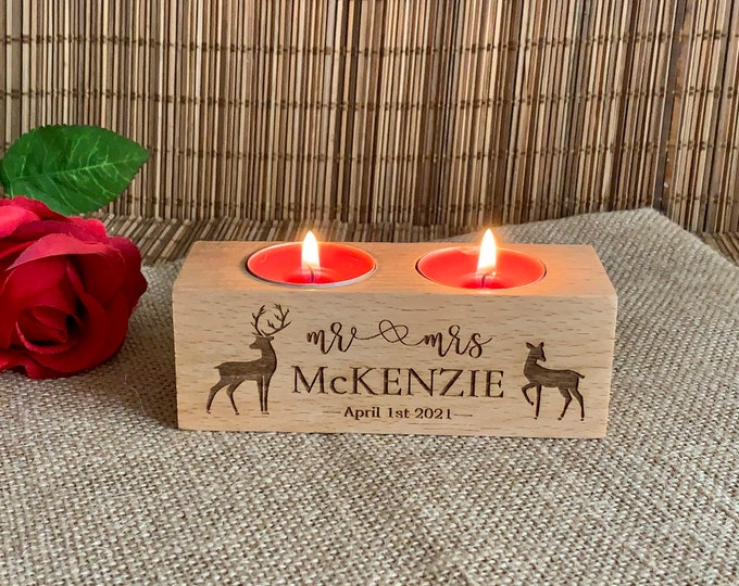 Personalized Mr Mrs Engraved Wooden Candle Holders & Deer Rustic Wood Home Decor Tealight Custom Family Name Gift for Couples Wedding Table