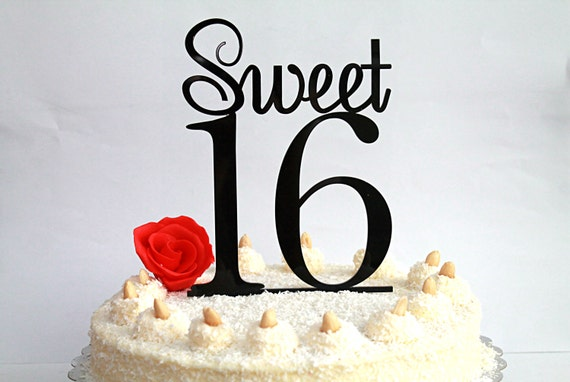 Sweet 16 Cake Topper, 16th Birthday Cake Topper, Sweet Sixteen Cake Topper, Black Cake Topper, Happy 16th Birthday, Party Decor, Table Decor