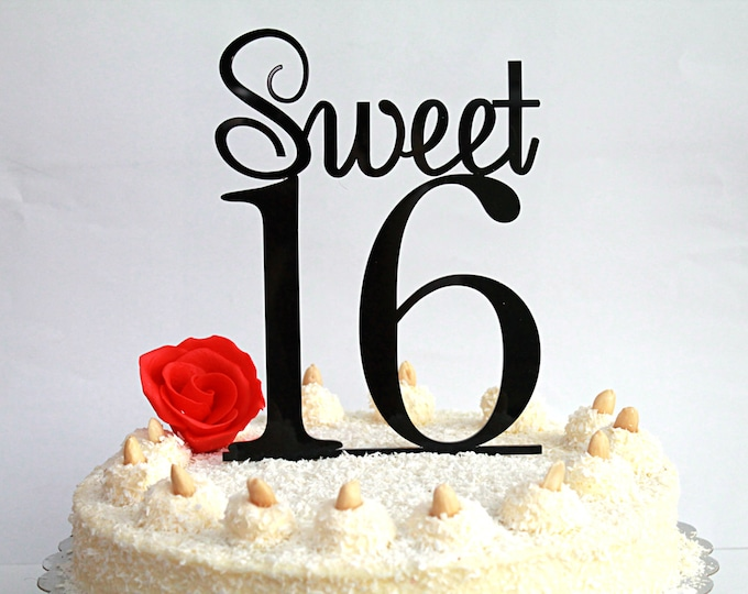 Sweet 16 Cake Topper 16th Birthday Sweet Sixteen Cake Topper Happy 16th Birthday Teen Party Decor Table Decorations Gold Glitter Any Color
