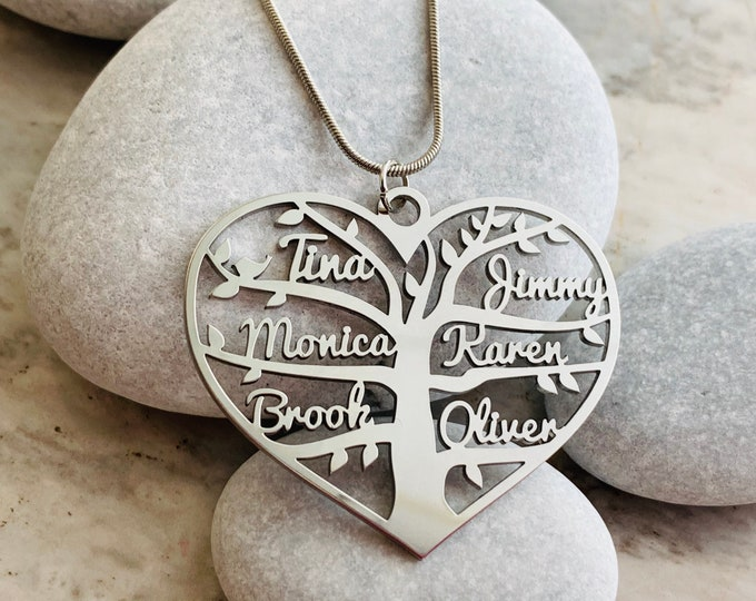 Personalized Tree of Life Heart Name Necklace Handmade Custom Charm Pendant Family Names Laser Cut Tree Stainless Steel Custom Gifts Jewelry