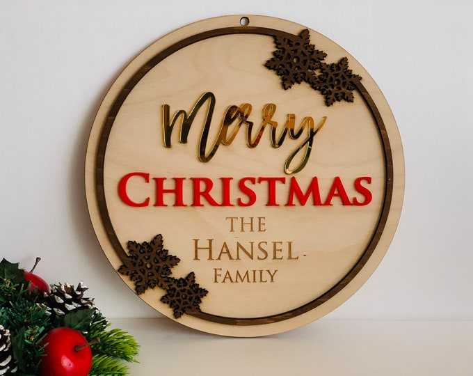 Personalized Merry Christmas Family Door Sign Custom Wood Front Door Hanger Last Name Home Decorations Handmade Wreath Porch Decor Snowflake