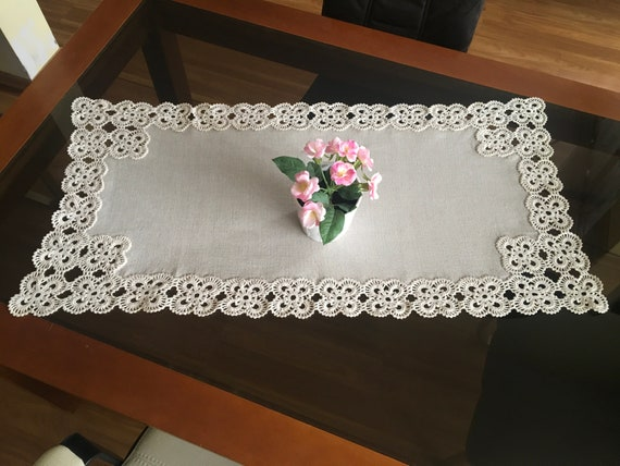Natural Linen Large Doily Crochet Beige Handmade Vintage Lace Table Runner Doily Tableware Centerpiece Tablecloth Gift for Mom Wedding gifts