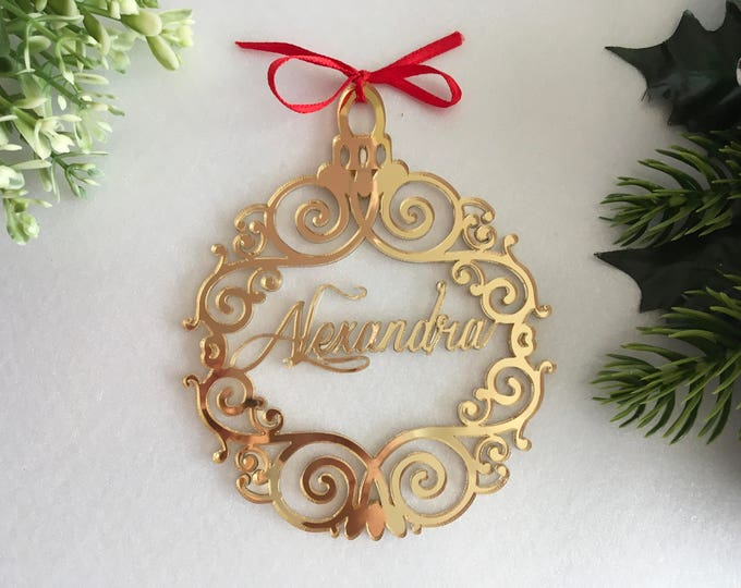Christmas Name Bauble Custom Xmas Tree Ornaments First Christmas Decorations Personalized Baubles Gold Mirror Acrylic Hanging Christmas Gift