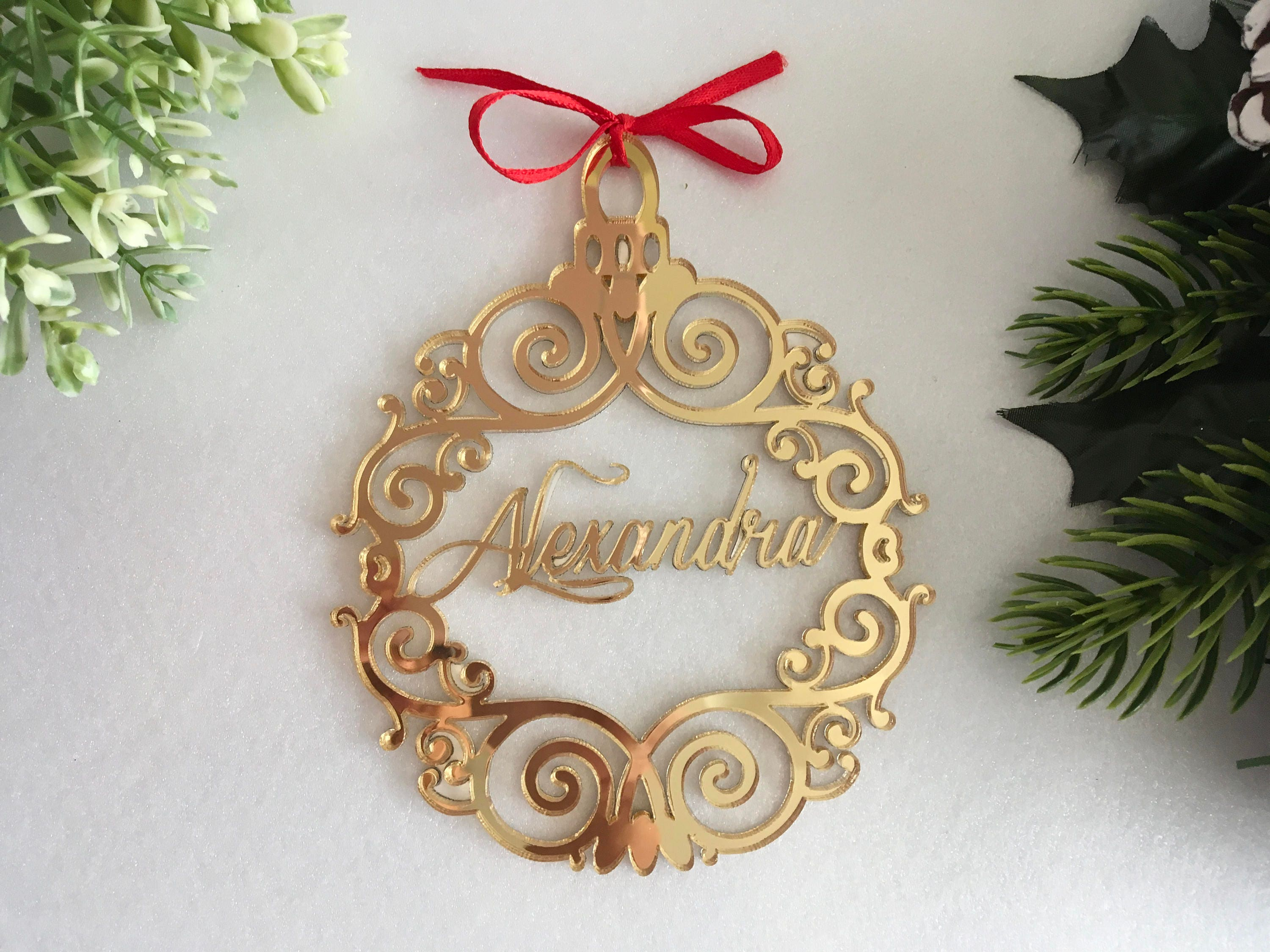 christmas name bauble custom xmas tree ornaments first christmas decorations personalised bauble gold mirror acrylic baubles christmas gifts