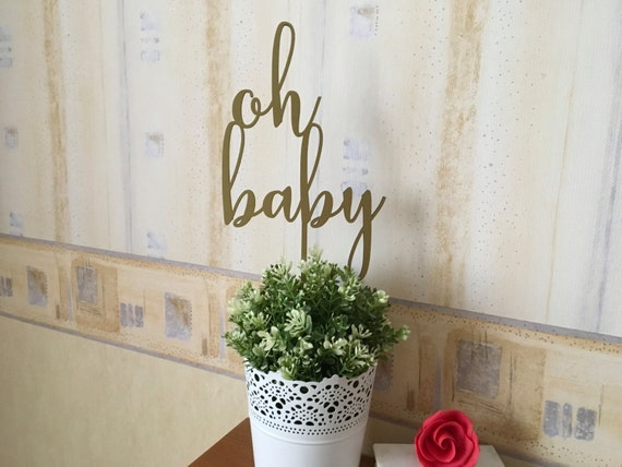 Oh Baby Gold Cake Topper, Baby Shower Cake Topper Baby Party Newborn Baby Announcement Topper Oh Baby Theme Personalized Oh Baby Cake Topper