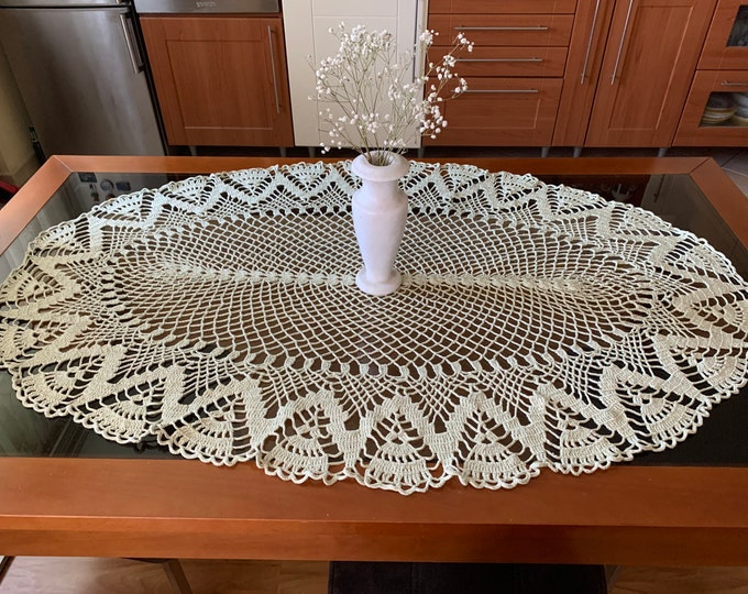 """Large Light Green Oval Doily Crochet Tablecloth Handmade Doilies Table Topper Centerpiece Home Decorations Gift for Mom Grandma Vintage 49"""""""