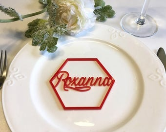 """Personalized Place Cards Laser Cut Names Place Settings Laser Cut Hexagon Shape Geometric Wedding Signs Acrylic Hexagon Escort Cards, 3.1"""""""