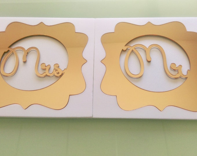 Mr and Mrs Monogram Custom Wedding Table Sign Bride and Groom Last Name Personalized Gold Charger Placemat Laser Cut Initials Place settings