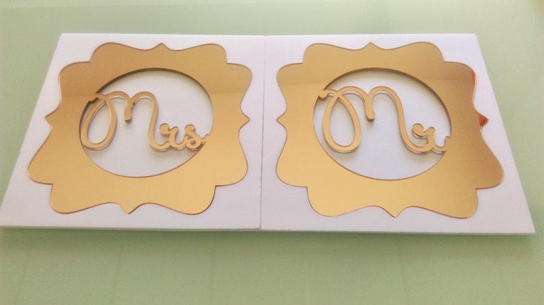 Mr and Mrs Monogram Custom Wedding Table Sign Bride and Groom image 0