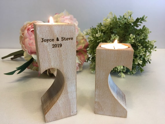 Personalized Engraved Wooden Candle Holder Wood Decorative Tealight Holders Wedding Gift for Couple Family Save the Date Custom Rustic Decor